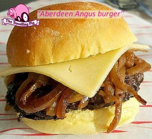 Aberdeen Angus burger with onions and cheese
