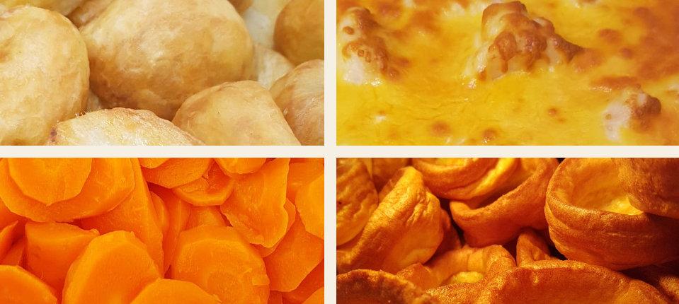 roast potatoes, cauliflower cheese, yorkshire puddings, field fresh carrots